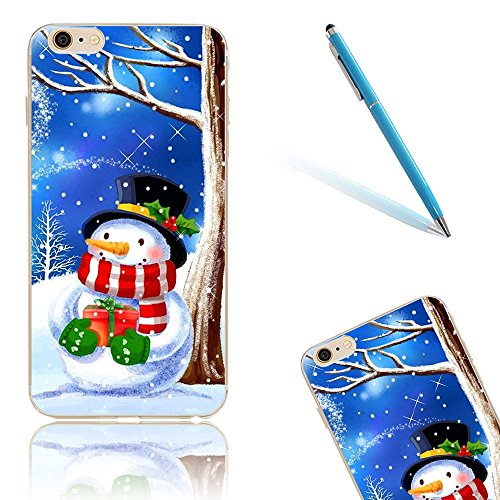 iPhone 8 Hülle, Luxus Christmas Series CLTPY iPhone 7 Dünne Weich Silikon Handytasche mit Transparent Bumper für Apple iPhone 7/8 + 1 x Freier Stift - Glocke Cute Schneemann