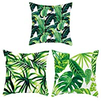 Garneck Throw Pillow Covers Decorative Throw Pillow Case Covers Set of 3 Soft Green Plants Throw Pillow Cushion Cover for Sofa Home Car