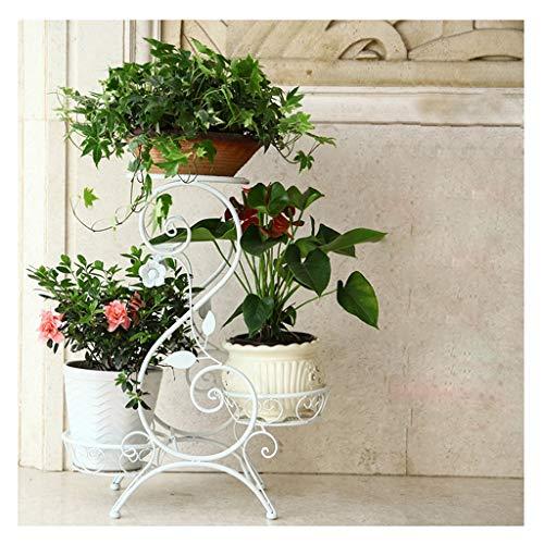 Blumenständer Metall, Schmiedeeisen-europäische Mehrstöckige Innenmehrfunktions-Wohnzimmer-Balkon-Boden-Blumen-Regal (Farbe : Weiß)