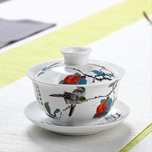 Q&C 160 Ml Chinesischen Stil Gaiwan Keramik Porzellan Applique Prägeblume Teeschale Mit Deckel Untertasse Kit Drinkware Teaware Tea Tureen