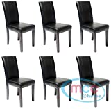 Set of 6 Faux Leather Dining Chairs For Home & Commercial Restaurants [Brown* Black* Red* Cream*] (Black)