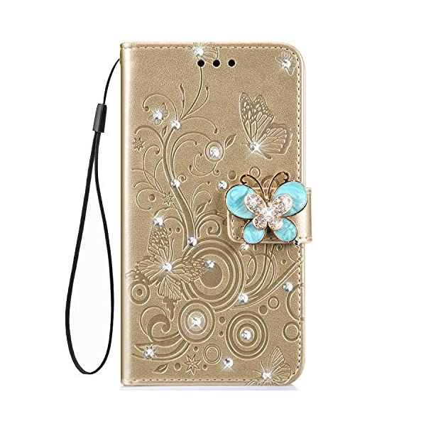 Uposao Compatible with Samsung Galaxy A8 2018 Case Bling Diamond Rhinestone Glitter Flower Butterfly Pattern PU Leather Wallet Case with Kickstand Card Holder Flip Cover Magnetic,Gold Uposao Compatible Model:Samsung Galaxy A8 2018 Package:1 x Wallet Case Cover,1 x Black Stylus Touch Pen Precision incision: Precise and Active-easily access to all ports, sensors, speakers, cameras and all Phone features.Change the volume, answer a call, charge your battery, take a picture, and listen to music without ever having to open your case 2