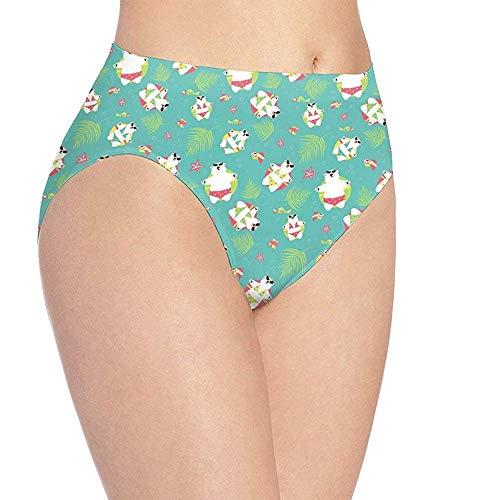 Adamitt Frauen Hipster Slip Höschen Cute Polar Bear Schwimmen Soft Stretch Unterwäsche