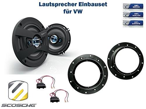 VW Sharan II (7N) Lautsprecher Einbauset (Türe Front) inkl. Scosche HD6504 165mm 3 Wege Triaxial Lautsprecher 200Watt Scosche Audio