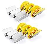 Taco soporte, hapway 4unidades acero inoxidable Taco camión bandeja estilo, comida mexicana Taco accesorio de conchas, seguro para horno, lavavajillas y parrilla.