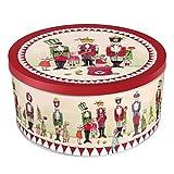 Grätz Verlag Keksdose/Plätzchendose Retro Dose für Kekse,, rund, rot, aus Blech, ca. 10,5 cm hoch Nussknacker