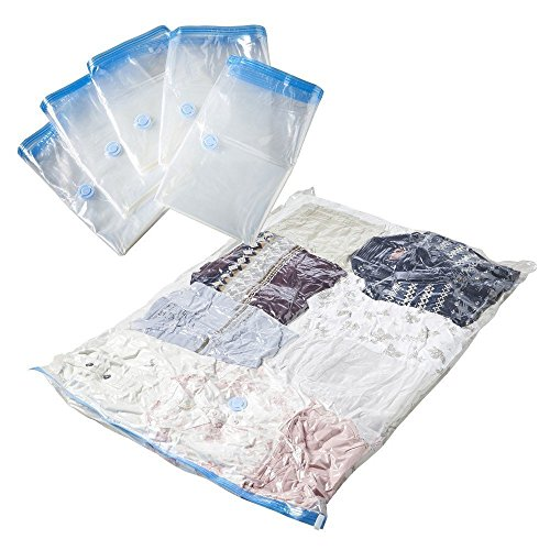 SpaceMax Premium Jumbo Vacuum Storage Space Saver Bags (80% More Compression Than Competitor Bags). Free Travel Hand-Pump Included! (6 Pack)