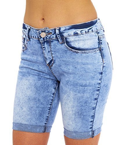SS7 Damen Jeans Knie Shorts,sizes 8 to 16 - Denim Blau, 40 - Softstretch Denim Shorts - Maschinenwäsche - 5 Taschen Detail - Verschluss: geknöpft - Denim - 76% Baumwolle, 20%Polyester,2% Viskose,2%Elasthan