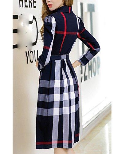 LYQ/ Robe Aux femmes Grandes Tailles Vintage / Travail , Géométrique Col de Chemise Mi-long Coton green-l