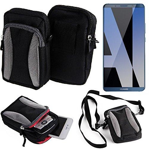 K-S-Trade Für Huawei Mate 10 Pro Dual SIM Gürteltasche Umhängetasche Für Huawei Mate 10 Pro Dual SIM schwarz-grau + Extrafach mit Platz für Powerbank, Festplatte etc. | Case travelbag Brustbeu