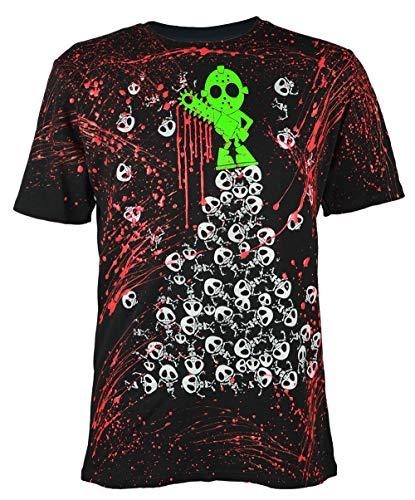 Schwarzlicht T-Shirt Neon Halloween Pile UP Black, Gr. S