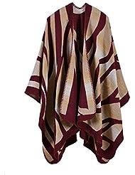 Estilo de moda Nepal las mujeres de gran tamaño gruesa manta bufanda abrigo Poncho chal cabo acogedor imitación Cachemira sobredimensionado tartán bufandas , c