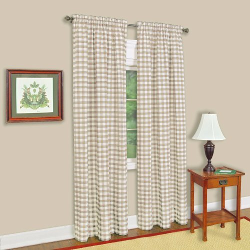 Achim Home Furnishings Buffalo Check Tenda a Pannello, Taupe, 42-inch by 63-inch