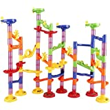 LYDAZ Marble Run Set Learning Toy 105 Pieces Include 30 Glass Marbles Educational Construction Building Blocks Toy