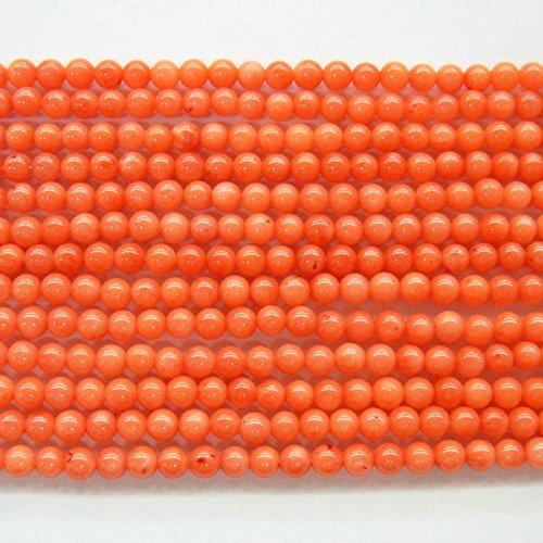 thetastejewelry 3mm Orange Koralle rund Perlen 38,1cm 38cm Halskette Heilung Schmuck herstellen (Einfügen Rote Koralle)