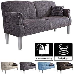 Cavadore 3-Sitzer Sofa Pasle mit Federkern für Küche, Esszimmer / Küchensofa, Essbank im modernen Landhausstil / verstellbare Armlehnen / Holzfüße weiß / 181 x 98 x 81 cm / Chenille-Bezug in grau