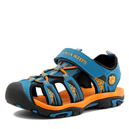 Sandalen Jungen Geschlossene Sommer Atmungsaktiv rutschfest Kinder Strand Schuhe Outdoor Trekking Schuhe Breathable mit Klettverschluss Blau Gr.24