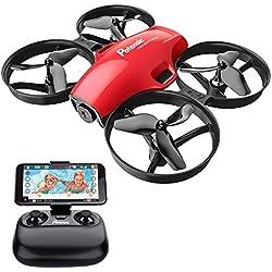 Potensic Drone con Cámara HD para Niños Mini RC Drone Quadcopter 2.4G 6 Ejes Principantes con Altitude Hold, Modo sin Cabeza, Plantear Ruta, Un Botón de Despegue/ Aterrizaje, A30W Rojo