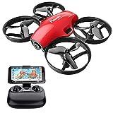 Potensic Mini Drone con Cámara 720P HD para Niños y Principantes , RC Quadcopter 2.4G 6 Ejes, con Altitude Hold, Modo sin Cabeza, Un Botón de Despegue y Aterrizaje, Parada de Emergencia, A30W Rojo