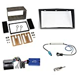 Einbauset: Opel Astra / Antara / Corsa D / Zafira B Doppel-DIN 2-DIN Blende / Radioblende Abdeckung - klavierlack - schwarz + KENWOOD Radio LFB Lenkrad Interface Radio Adapter + Fakra Antenne Adapter - SET