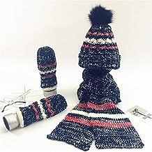 Señoras Raya Knitting crochet 3 piezas Sombrero Bufanda Guantes Mujeres  Sets Regalo de invierno (Raya 2c37f7efeef