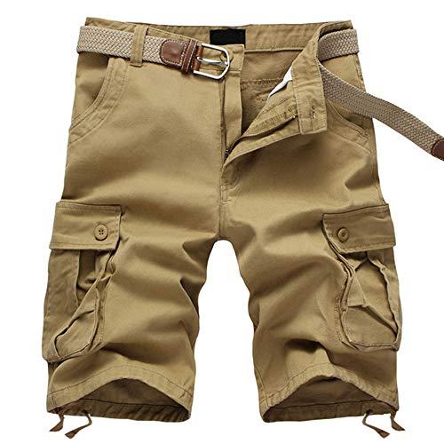 ELETOP Herren Shorts Cargo Sommer Mode Shorts Tarnung Lounge Lässige Shorts Reines Khaki JD01-M - Lässige Short Set