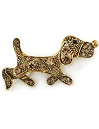 Vintage inspiriert Little Puppy Dog Citrin Kristall Brosche in Gold antik Metall – 40 mm L