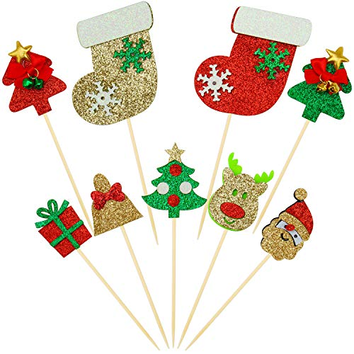 Elcoho 28 Pack Christmas Cupcake Toppers Picks Glitter Cake Toppers Decorations for Home Party Decoration and Christmas Party Supplies Favors, 9 Style