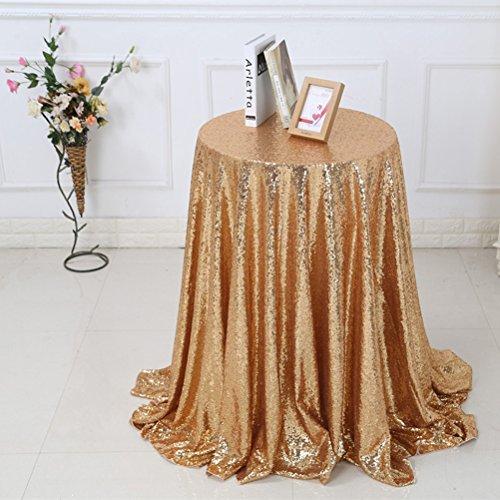WINOMO Pailletten Tischdecke Tischtuch Hochzeit Party Bankett Dekoration 1.2 x 1.2M (Golden) (Glitter Leinen Tischdecke)