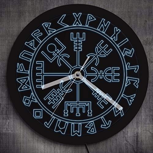 GZGJ Brújula Vikingos Símbolo Runas LED Reloj Pared