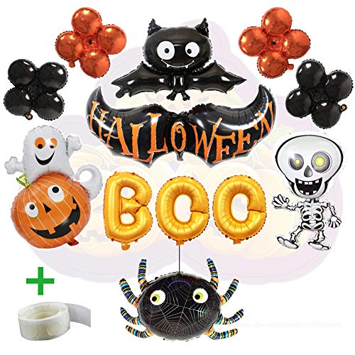 WLZP Halloween Party Luftballons, 12 Pack Halloween Party Dekorationen einschließlich Boo Banner Folie Brief Ballon für Party Supplies, Schwarze Fledermaus, Schwarze Spinne für Halloween Trick (Party-dekoration Halloween Für)