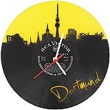 Dortmund Fan-Uhr Wanduhr aus Vinyl Schallplattenuhr Upcycling Design-Uhr Vinyl-Uhr Wand-Deko Vintage-Uhr Wand-Dekoration Retro-Uhr Made in Germany