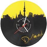 GRAVURZEILE Dortmund Fan-Uhr Wanduhr aus Vinyl Schallplattenuhr Upcycling Design-Uhr Vinyl-Uhr Wand-Deko Vintage-Uhr Wand-Dekoration Retro-Uhr Made in Germany