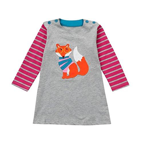 (Overdose Kleinkind Baby Mädchen Kind Herbst Kleidung Pferd Print Stickerei Prinzessin Langarm T-shirts Party Kleid Mini Kleid(3-4T,C-Grau))