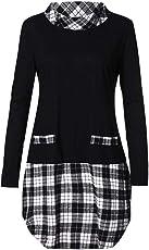 Outtop(TM) Women's Winter Plaid Patchwork Plus Size Tops Blouse T-Shirts