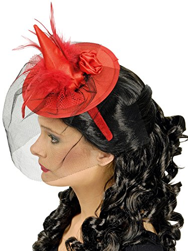 Mini Hexenhut mit Federn und Schleier rot (Hexen Hut Mini)
