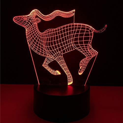 Neuheit Cartoon Luminaria Vision 3D Hirsch Nachtlicht 7 Farbverlauf Illusion Tischlampe Schlafzimmer Dekoration Kinder Weihnachtsgeschenk ausgeführt
