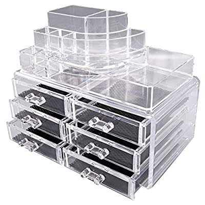 TRESKO® Acrylic Clear Make up Cosmetic Organiser Beauty Nail Polish Varnish Display Stand, Jewellery, Accessories, Storage Box with drawers