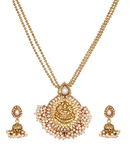 Zeneme Maa Lakshmi White Pearl Metal Strand Necklace Pendant With Drop Earring Jewellery For Women / Girls