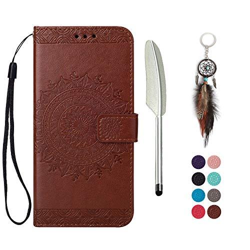 LA-Otter kompatibel für LG K10 2017 hülle Leder Mandala Brown Tasche handyhüllen mit Kartenfach Lederhülle Schutzhülle Flip Case Klapphülle