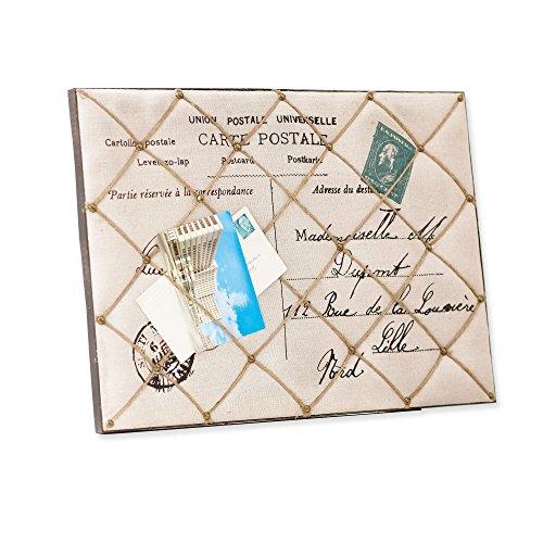 LOBERON Memoboard Harvey - Vintage-Look mit nostalgischem Postkarten-Motiv, mit Schnüren bespannt, creme