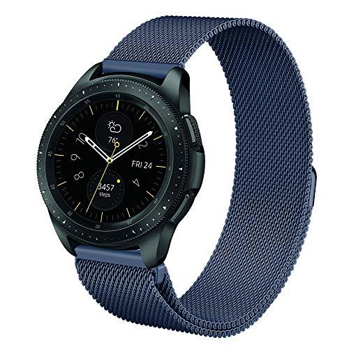 fintie cinturino per galaxy watch 42mm & gear sport & gear s2 classic & huawei watch 2-20mm metallo loop cinturino di ricambio wristbands in acciaio inossidabile, blu