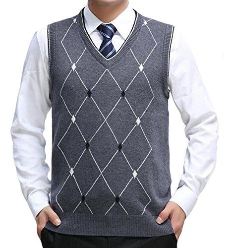 DD.UP Herren V-Ausschnitt Slim Fit Argyle Muster Pullunder Wollweste Strickweste Weste Grau