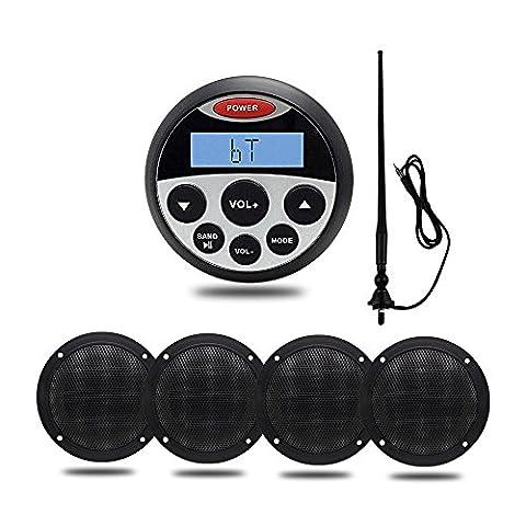 Marine stéréo Bluetooth 10,2cm étanche USB MP3AUX IN/OUT Audio Système de son avec 10,2cm étanche Bateau haut-parleurs et flexible et FM Radio AM antenne