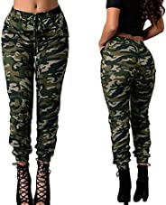 KKmoon Fashion Women Long Pants Camouflage Print Elastic Waist Casual Camo Trousers Green