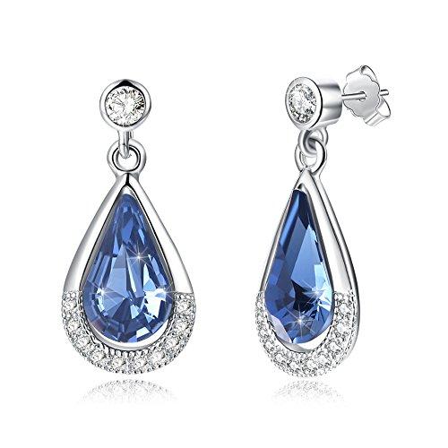 sywin 925Sterling Silber Tropfen Ohrringe mit Aquamarin Kristall von Swarovski, Drop Baumeln Ohrring für Frauen mit Geschenk verpackt