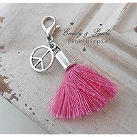 1 Charm Quaste Peace Hippie Karabiner Anhänger rosa pink Quastenanhänger Schmuckquaste Gipsy Boho