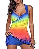 Damen Tankini Badeanzug mit Röckchen Badekleid mit Shorts Bademode Große Größen Swimsuit Blau 4XL