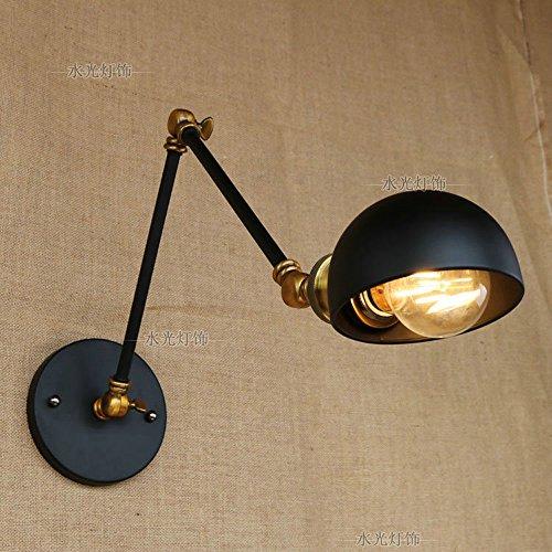 Pointhx Braccio flessibile di oscillazione della lampada del muro di metallo del ferro battuto nera appliques per camera da letto Garage illuminazione dell'interno del salone (lampadina non inclusa)