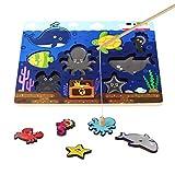 Juego Magnético de Madera Pesca del Poste Tablero Magnético Rompecabezas con 9 Animales del Océano para Niños 3 4 5 6 Años